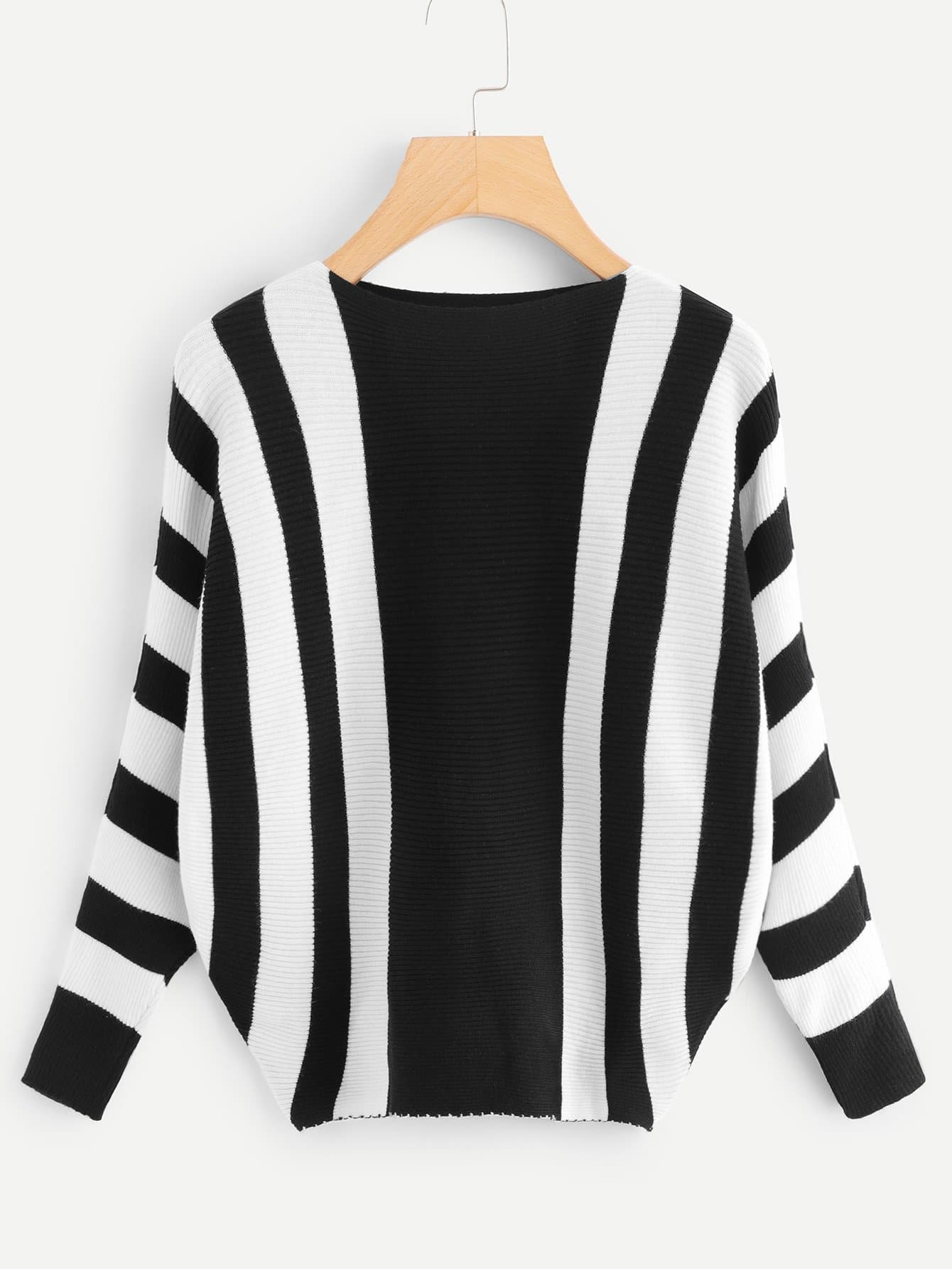 Contrast Stripe Ribbed Knit Sweater
