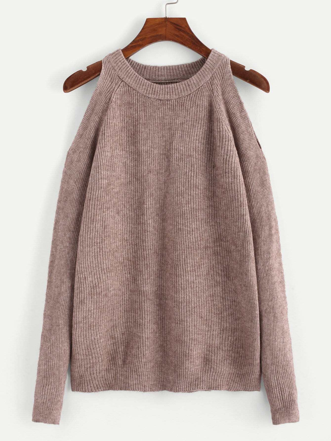 Cold Shoulder Solid Ribbed Knit Sweater
