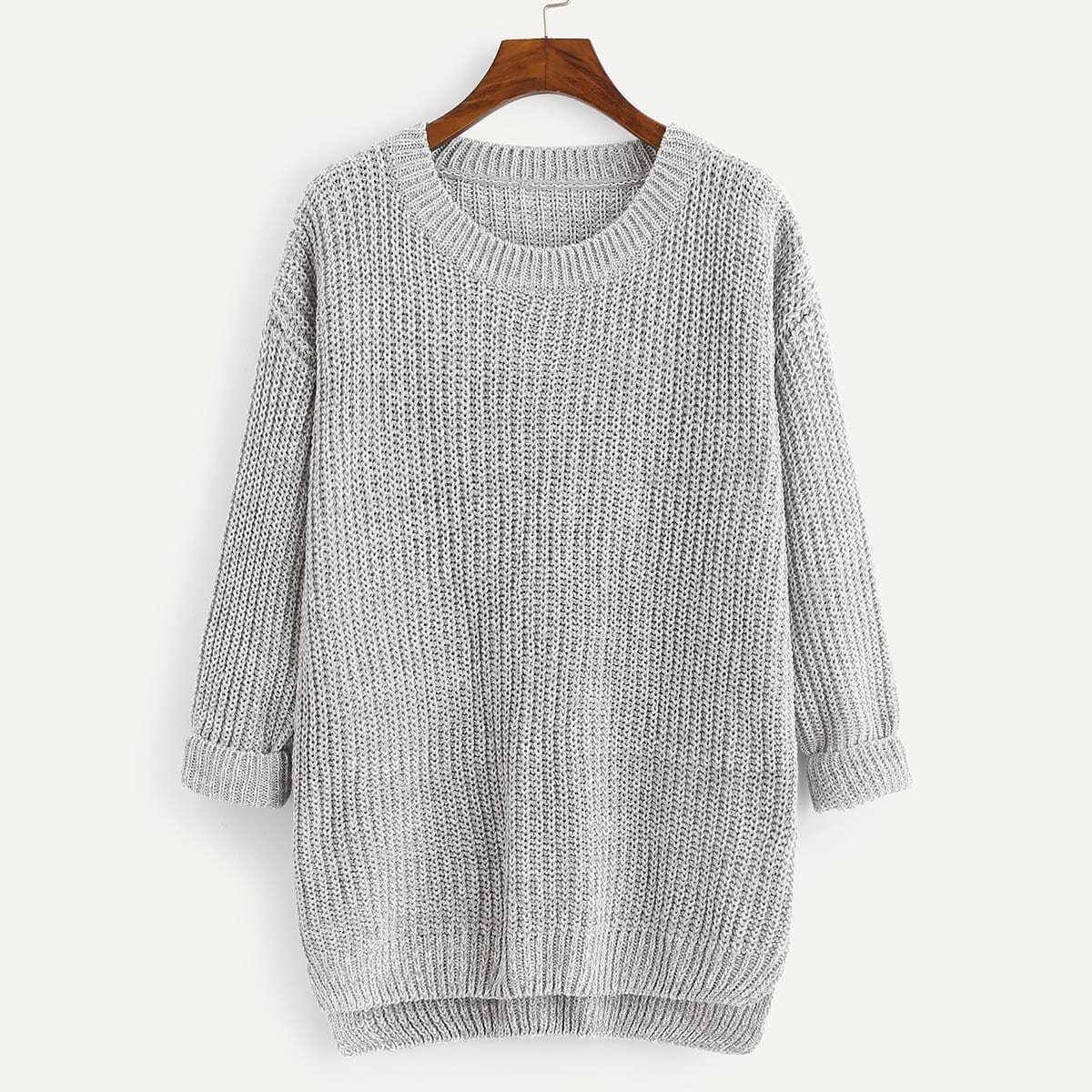 Grijze basic knit trui