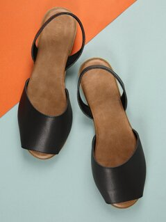 Wide Band Faux Leather Sandals