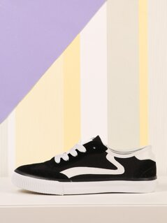 Faux Suede And Canvas Lace Up Sneaker