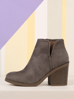 Faux Suede Split Shaft Stacked Chunky Heel Booties