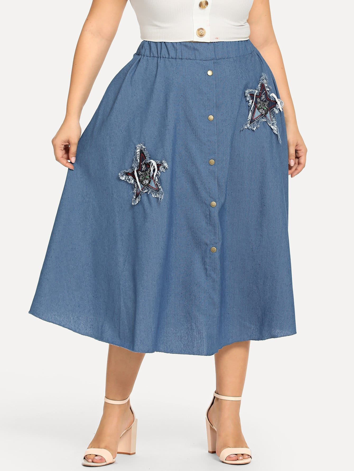 Plus Patch Detail Button Front Denim Skirt
