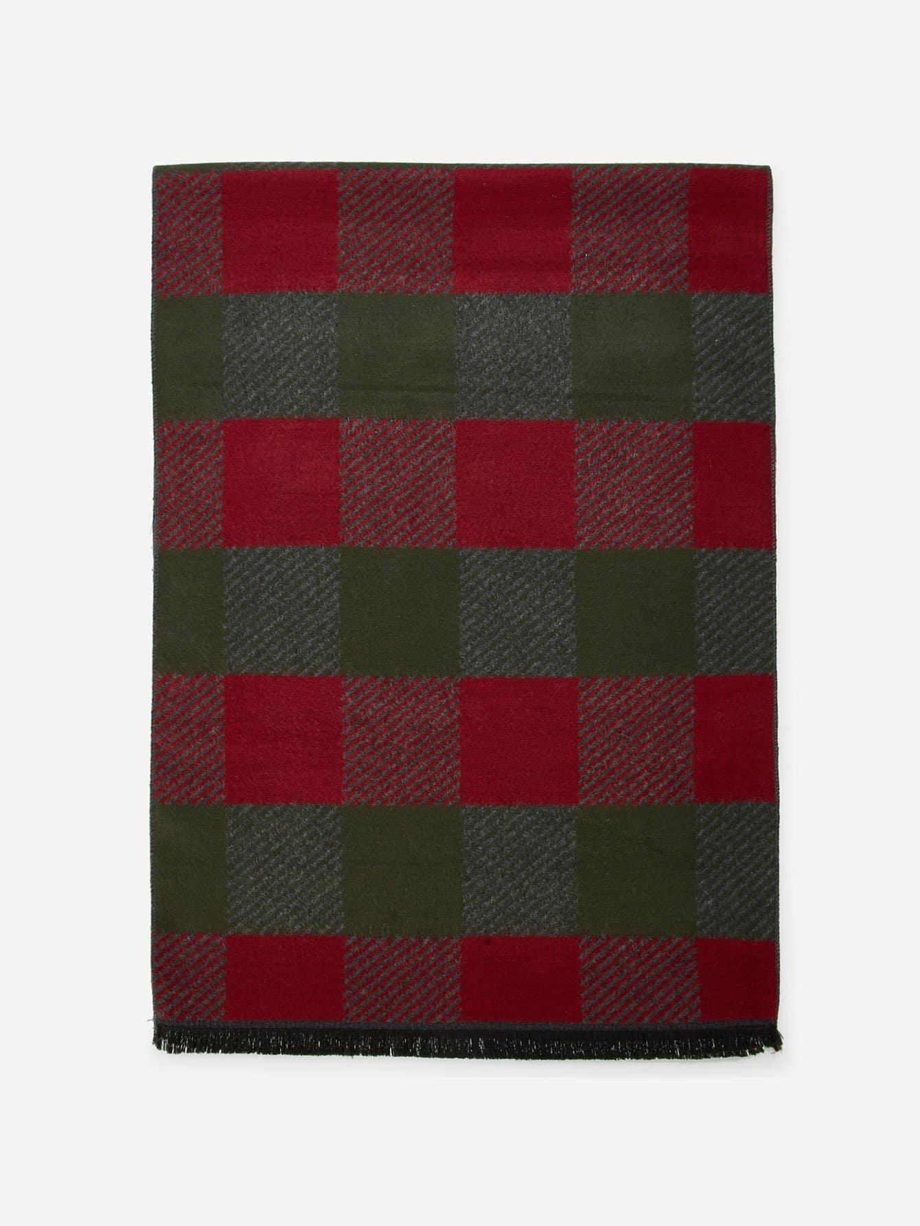 Купить Контрастный шарф со сырыми оторочками для мужчины, null, SheIn