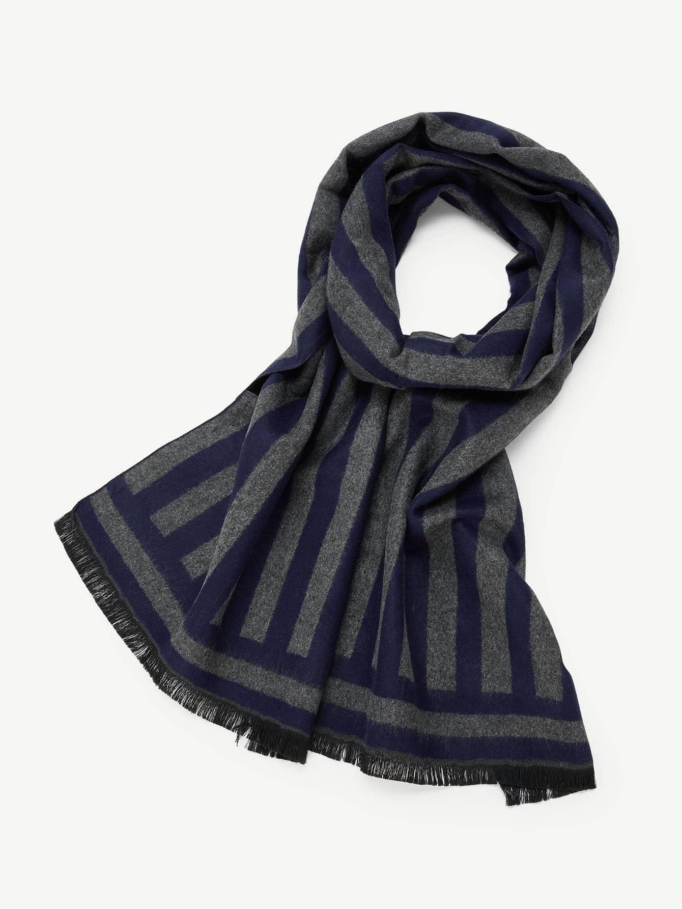 Купить Полосатый шарф со сырыми оторочками для мужчины, null, SheIn