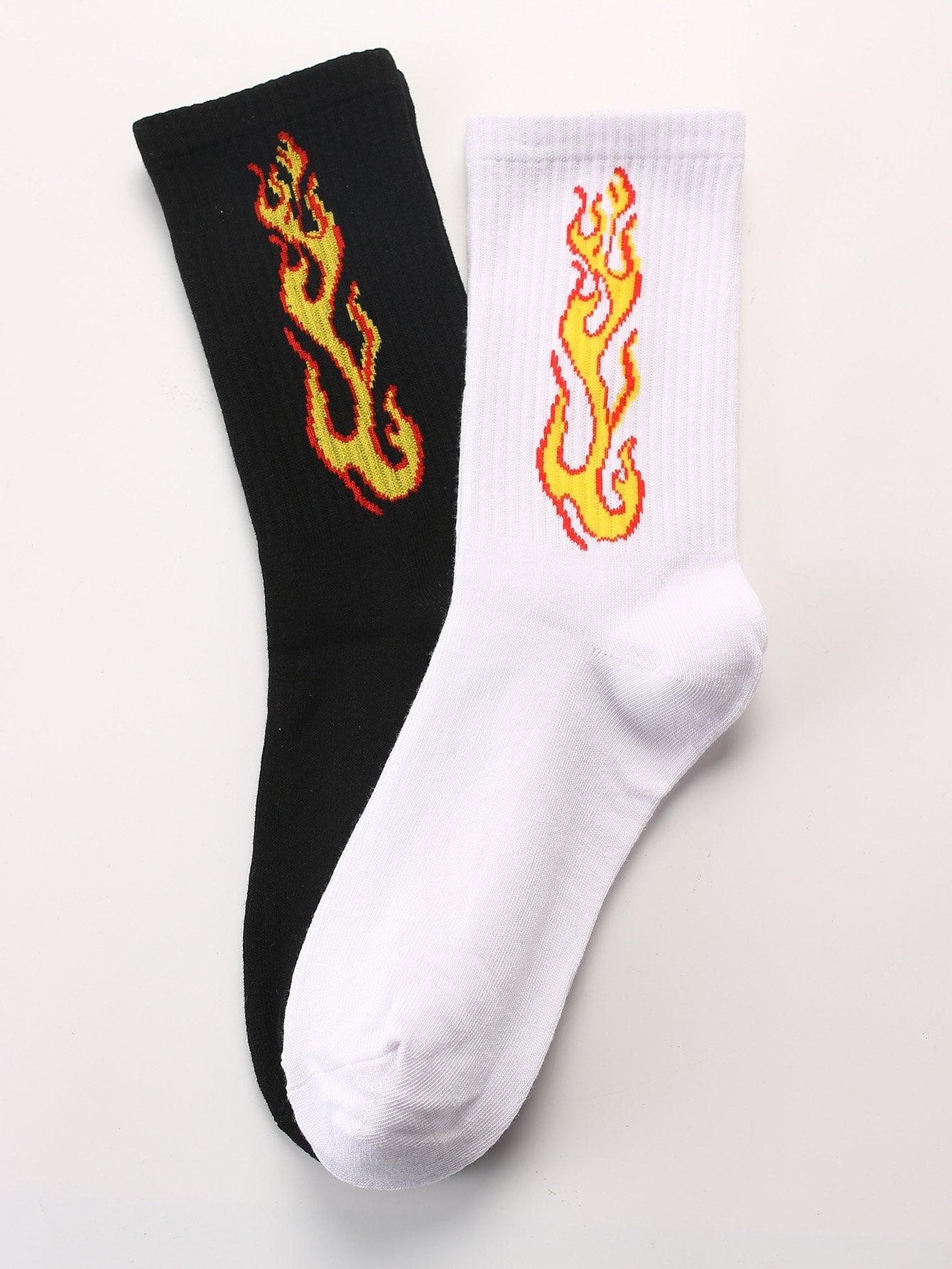 Männer Socken 2Paare mit Flamme Muster