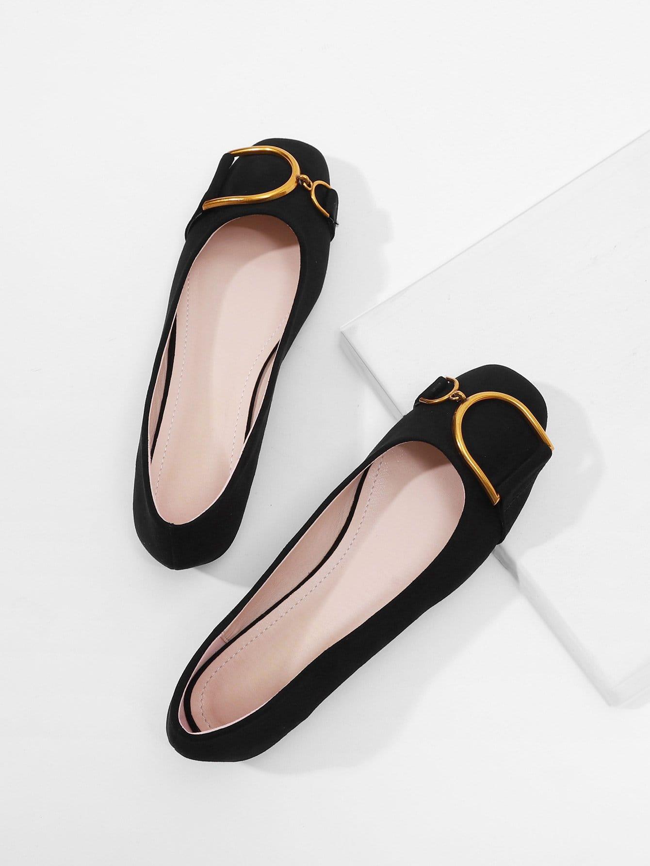 Купить Туфли на плоской подошве с украшением металла, null, SheIn