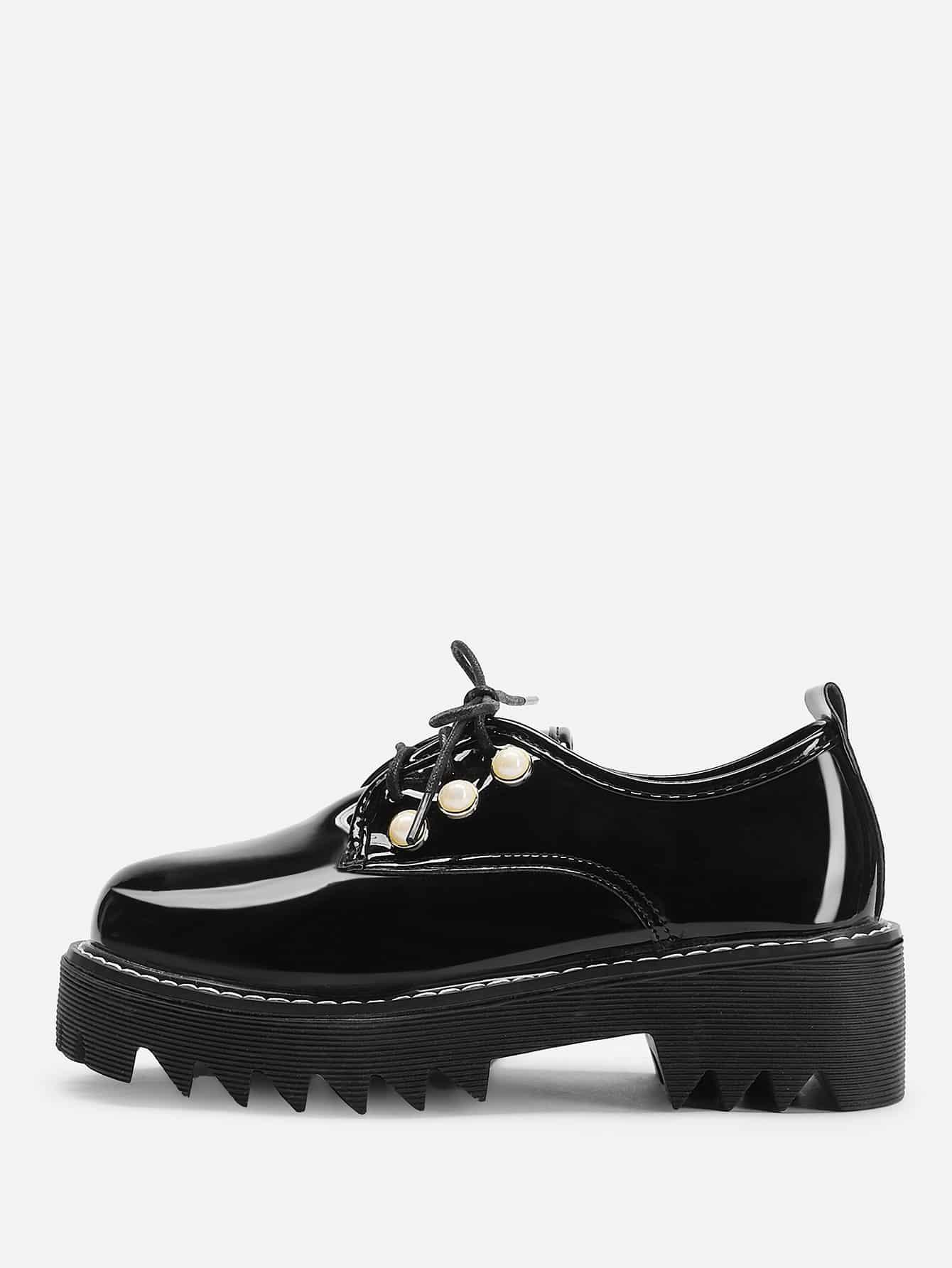 Купить Туфли на танкетке с украшением искусственных жемчугов и с шнурками, null, SheIn