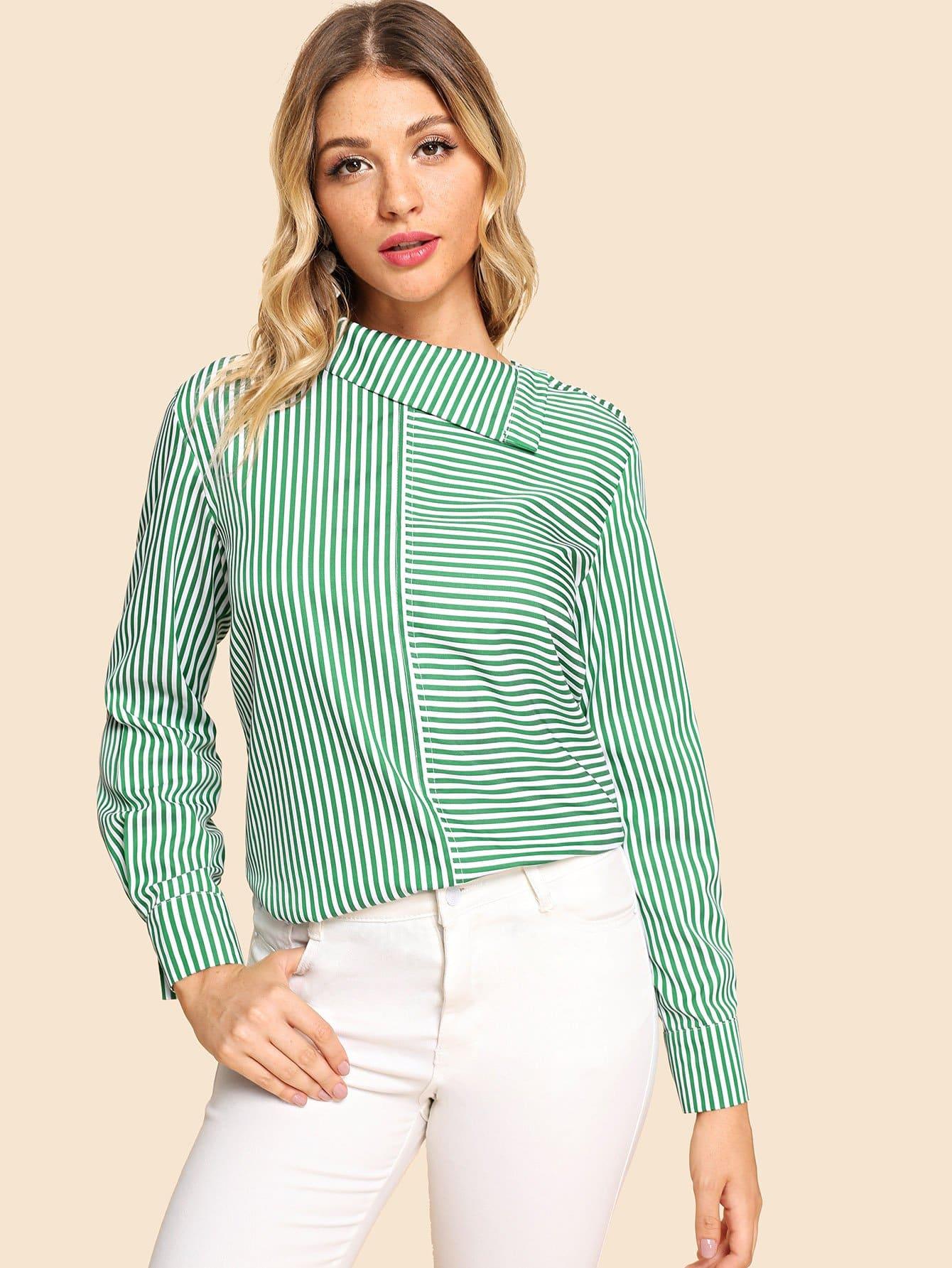 Купить Полосатая блуза с асимметричным воротником, Nathane, SheIn
