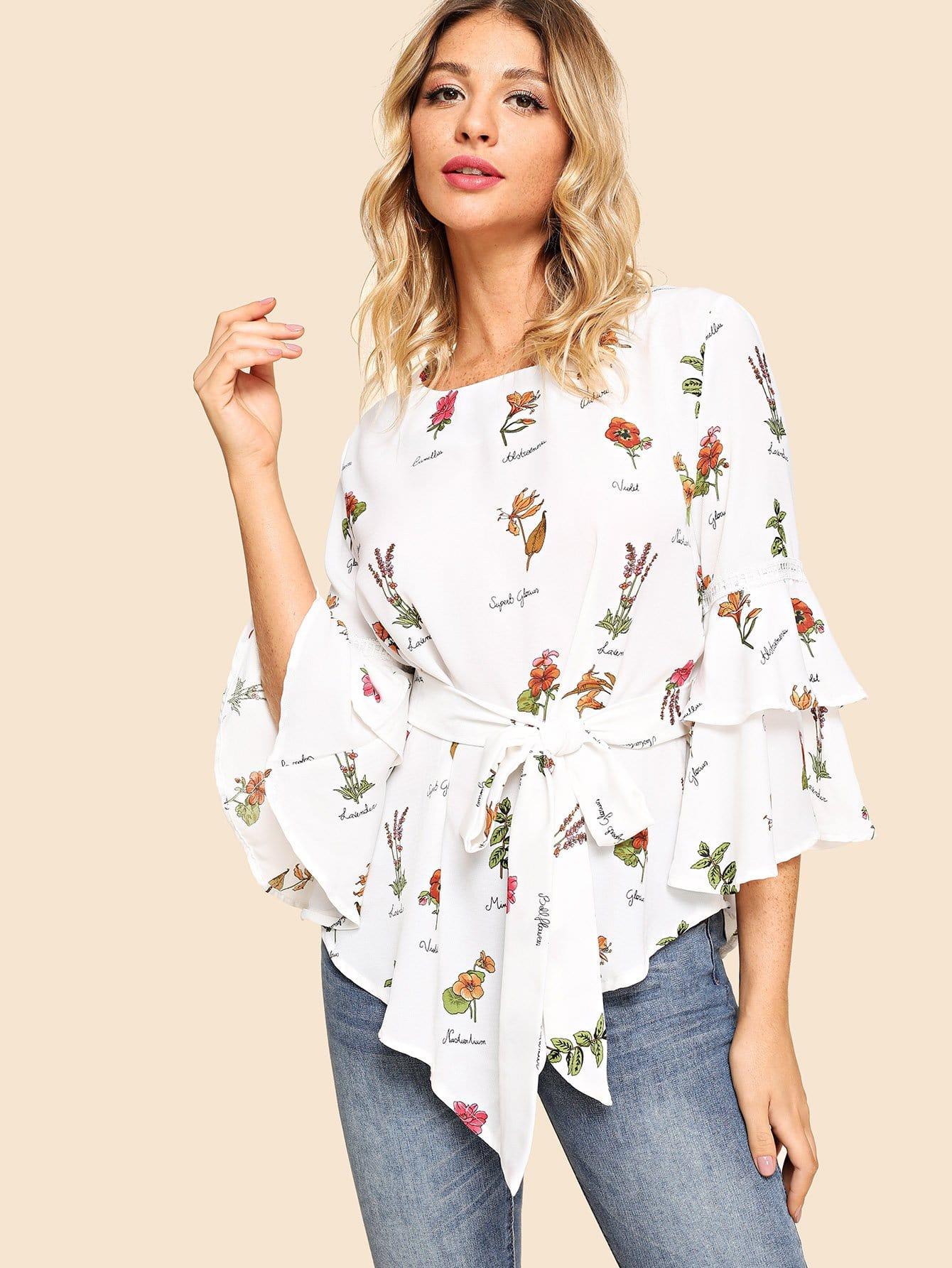 Купить Асимметричная блуза с рисунками растений и рукав с розеткой, Nathane, SheIn