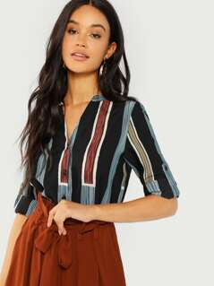 Rolled Tab Sleeve Striped Shirt