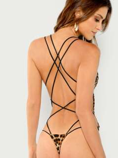 Strappy Back Slim Fitted Bodysuit
