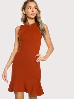 Ruffle Hem Rib Knit Fitted Dress
