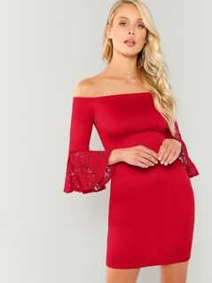 Lace Bell Sleeve Bardot Bodycon Dress