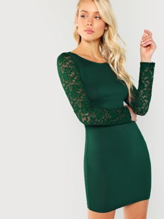 Floral Lace Sleeve Form Fitting Dress