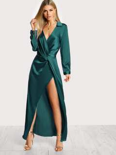 Twist Front Split Wrap Satin Shirt Dress
