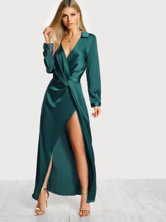 Collared Plunge Neck Twist Satin Dress