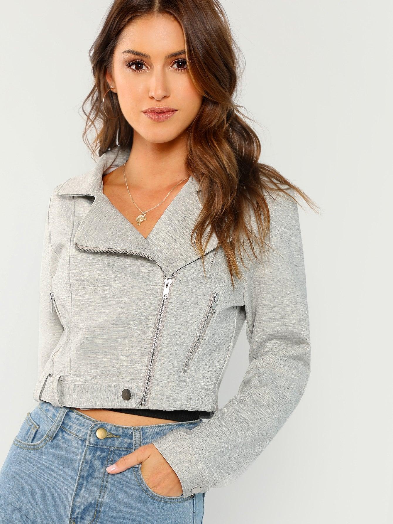 Купить Одноцветная куртка на молнии низ с поясом, Gigi Paris, SheIn