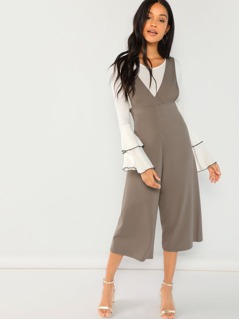 V-Neck Wide Leg Jumpsuit