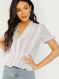 Button Front Ruffle Trim Blouse