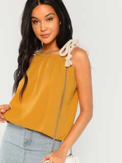 Rope Tie Shoulder Strap Top