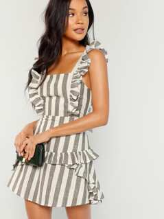 Striped Ruffle Trim Sleeveless Dress