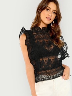 Sheer Embroidered Ruffle Blouse