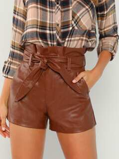 Faux Leather Waist Tie Shorts