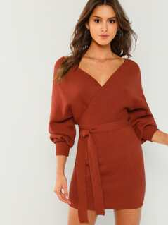 Waist Tie V-Neck Knit Dress