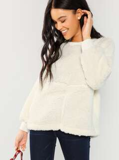 Faux Shearling Teddy Pullover