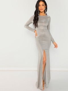 Long Sleeve Glittered Gown
