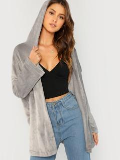 Open Front Hooded Faux Fur Coat