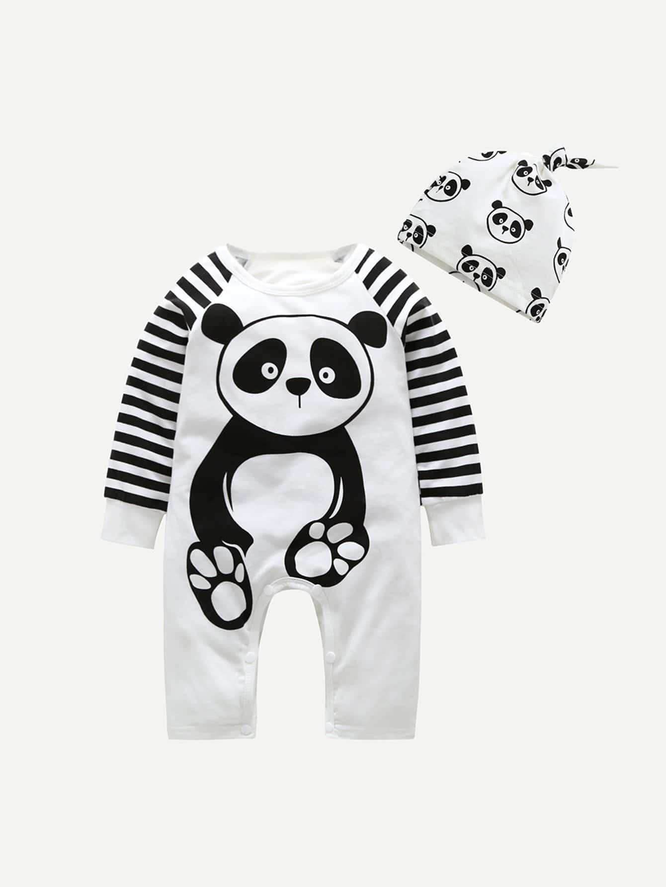 Купить Комбинезон с рисунком панды и со симметрическими полосатыми рукавами и шляпка для мальчика, null, SheIn