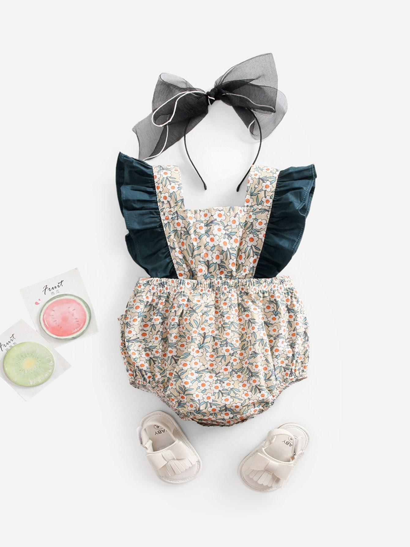 Купить Комбинезон с кружевными оборками и принтом цветочным без обруча для волос для маленьких малышей, null, SheIn
