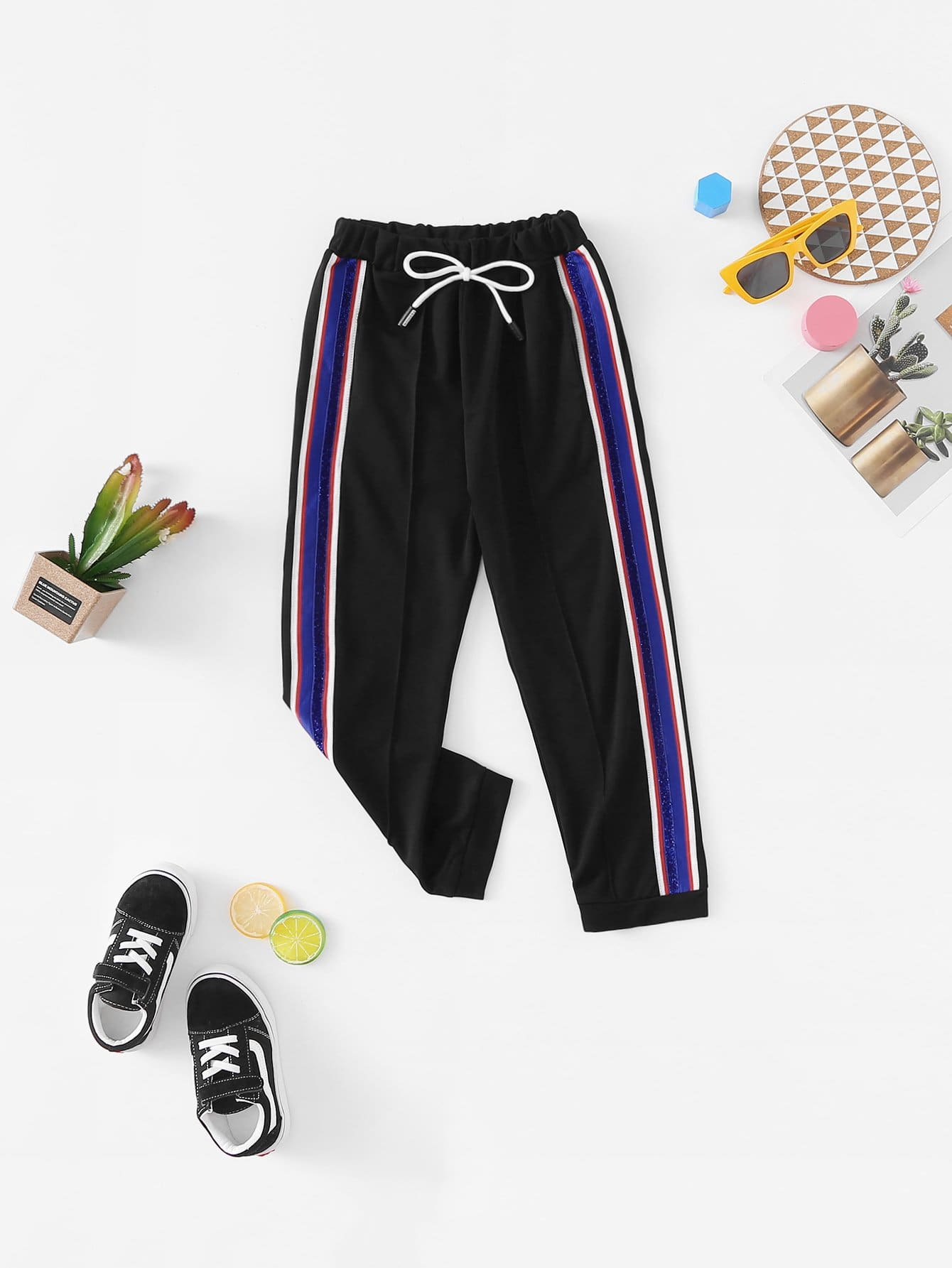 Girls Contrast Striped Tape Side Drawstring Waist Pants
