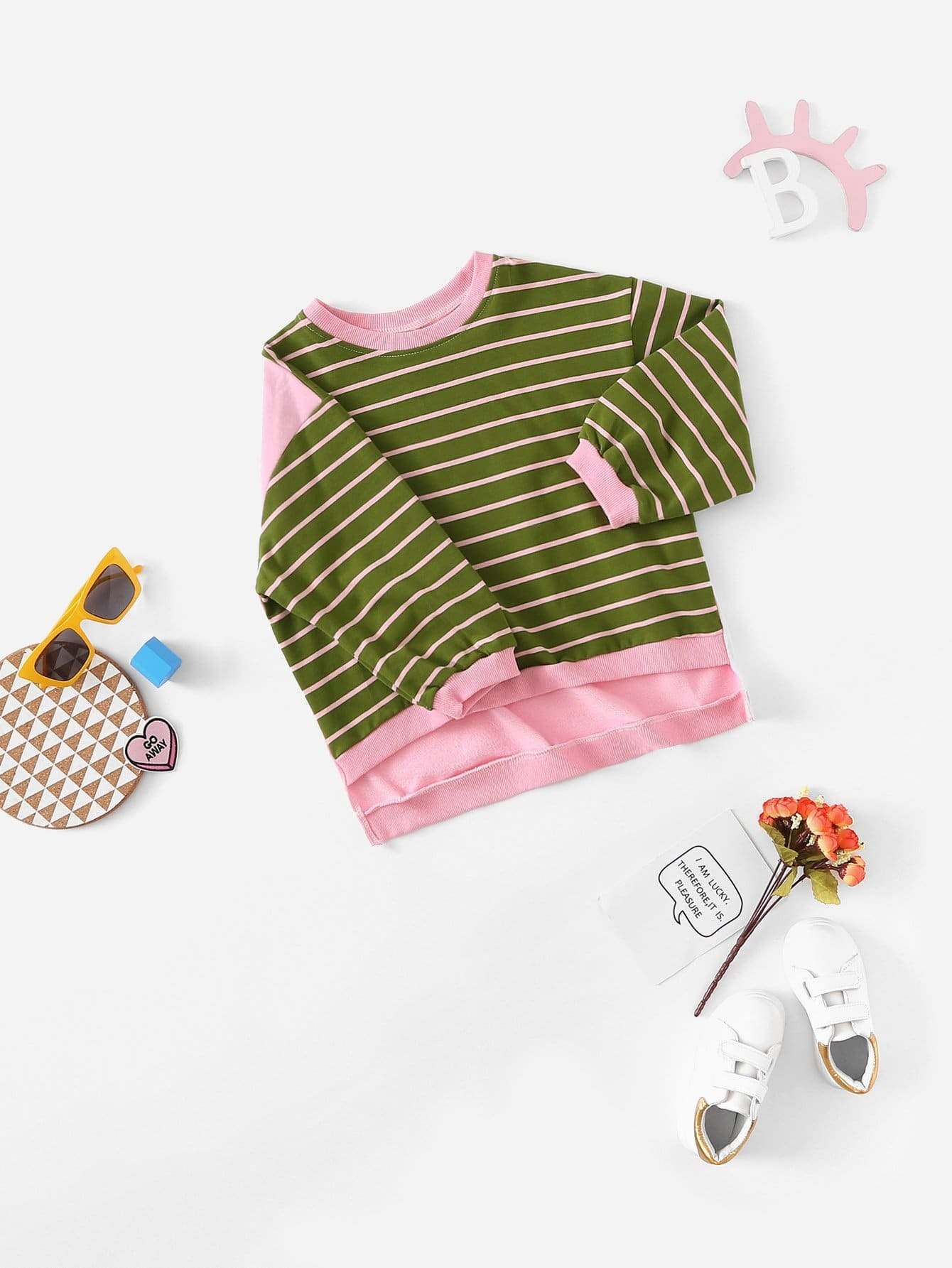 Girls Striped Dip Hem Sweatshirt