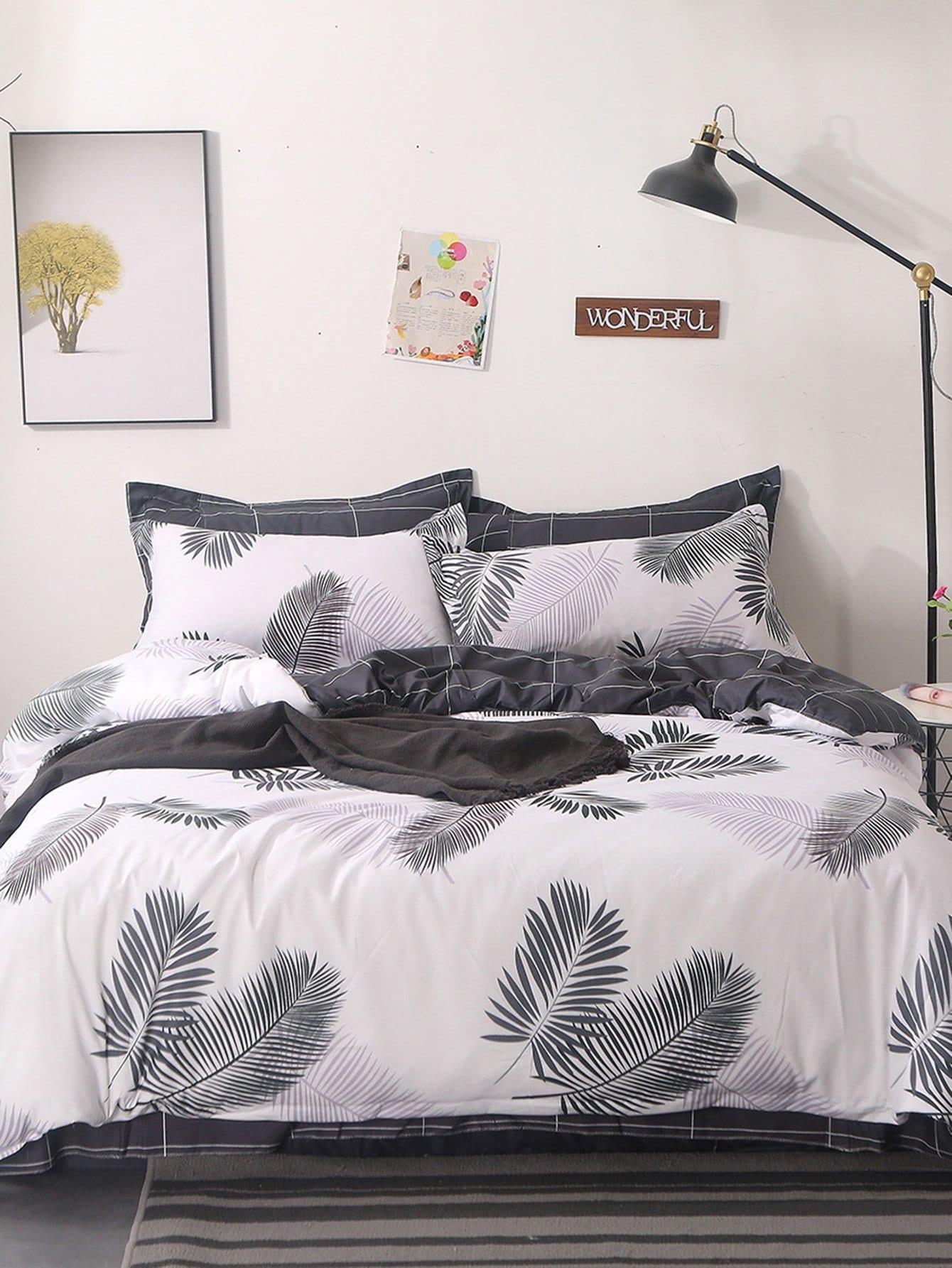 Купить Комплект полосатого постельного белья с рисунками листьев, null, SheIn