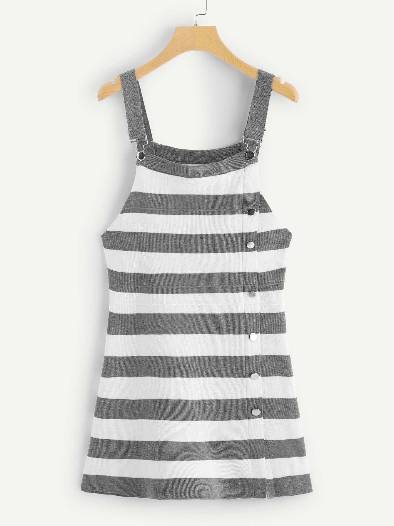 Button Decoration Striped Dress