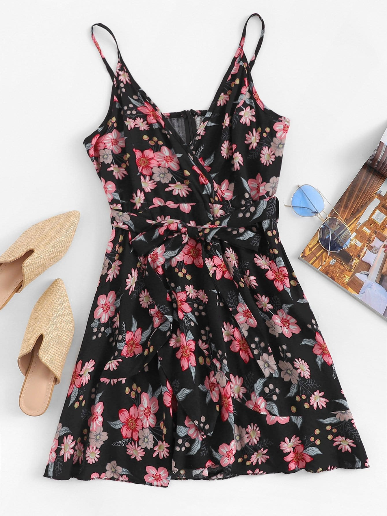 Allover Floral Print Belted Cami Dress