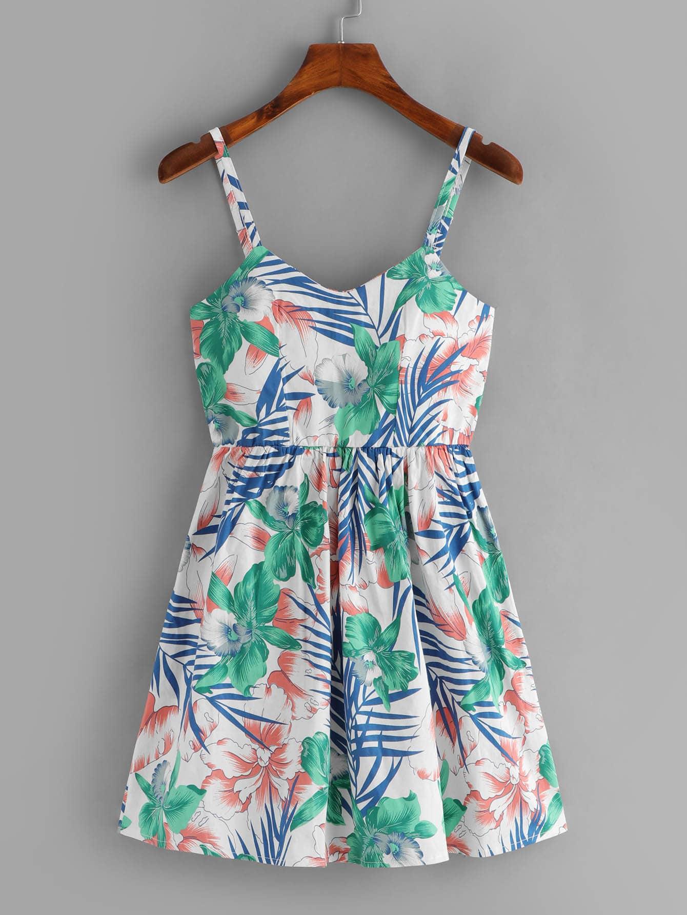 Floral Print Lace Up Back Cami Dress