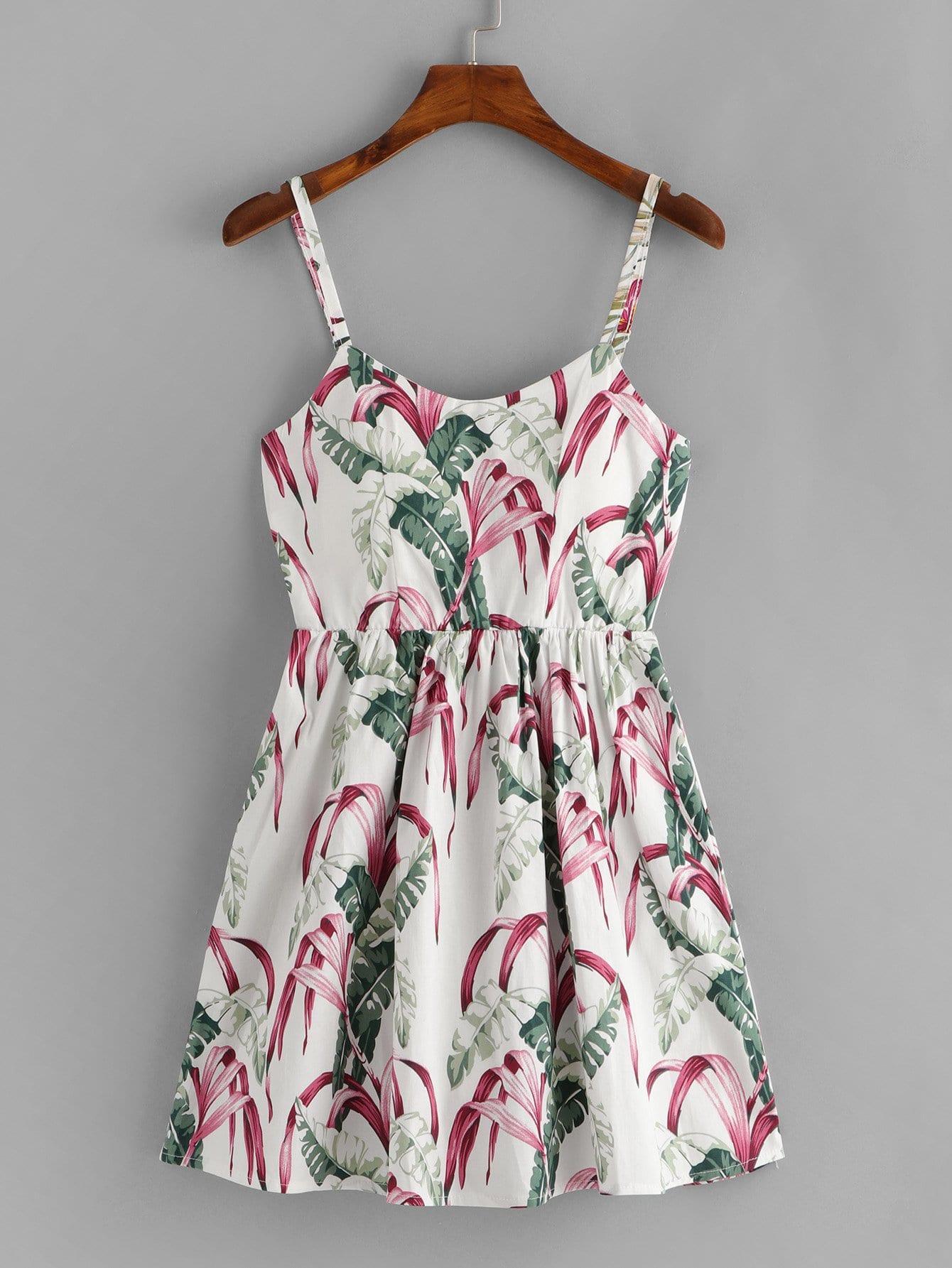 Tropical Print Lace Up Back Cami Dress