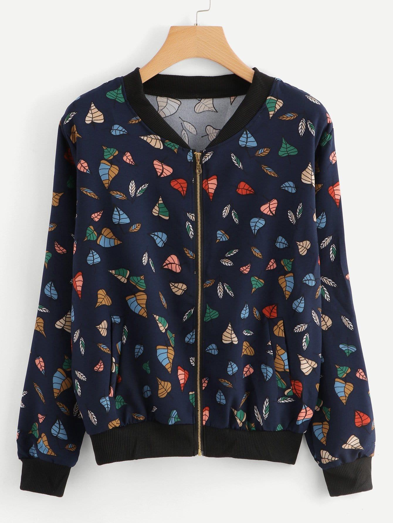 Allover Leaf Print Jacket