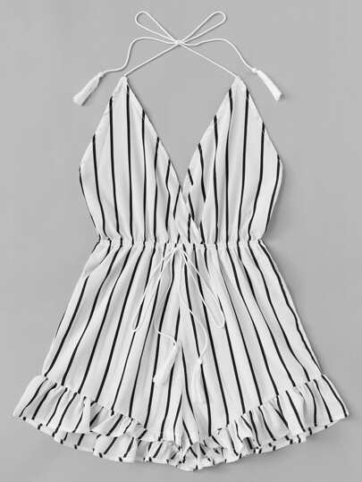 Romwe / Ruffle Hem Drawstring Waist Striped Halter Jumpsuit