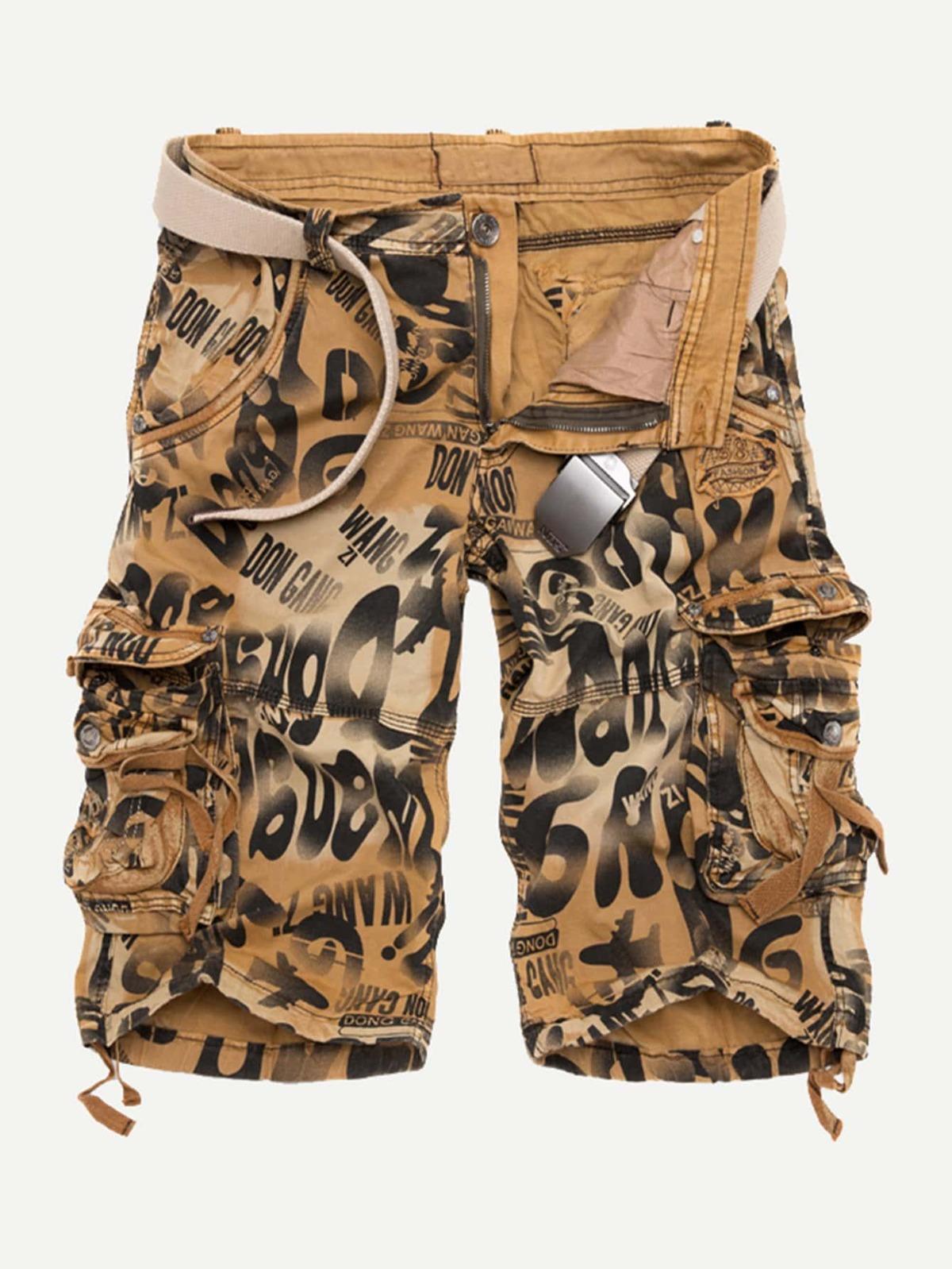男人 口袋 側邊 字母 圖片 短褲