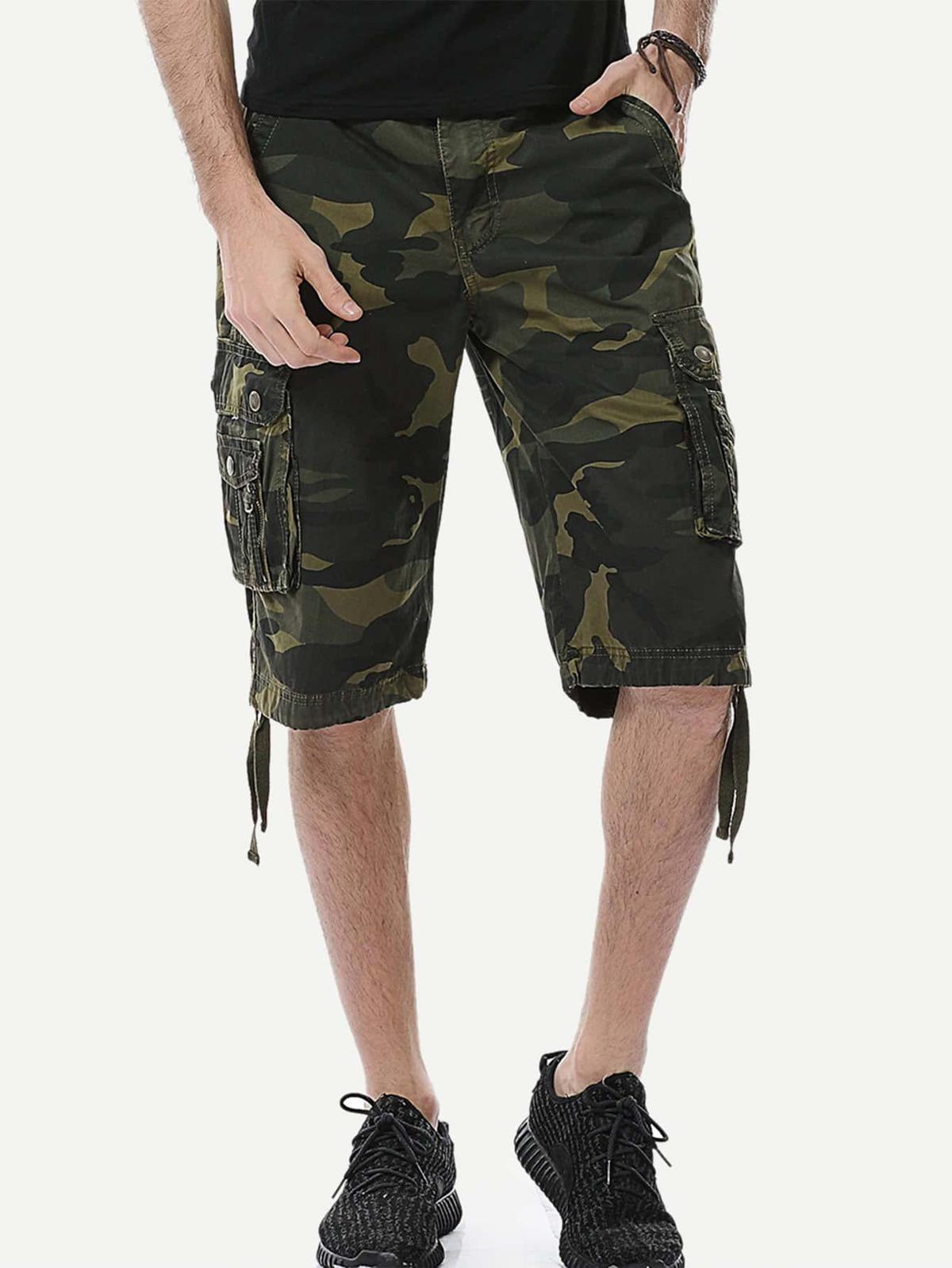 男人 口袋 側邊 迷彩色 短褲