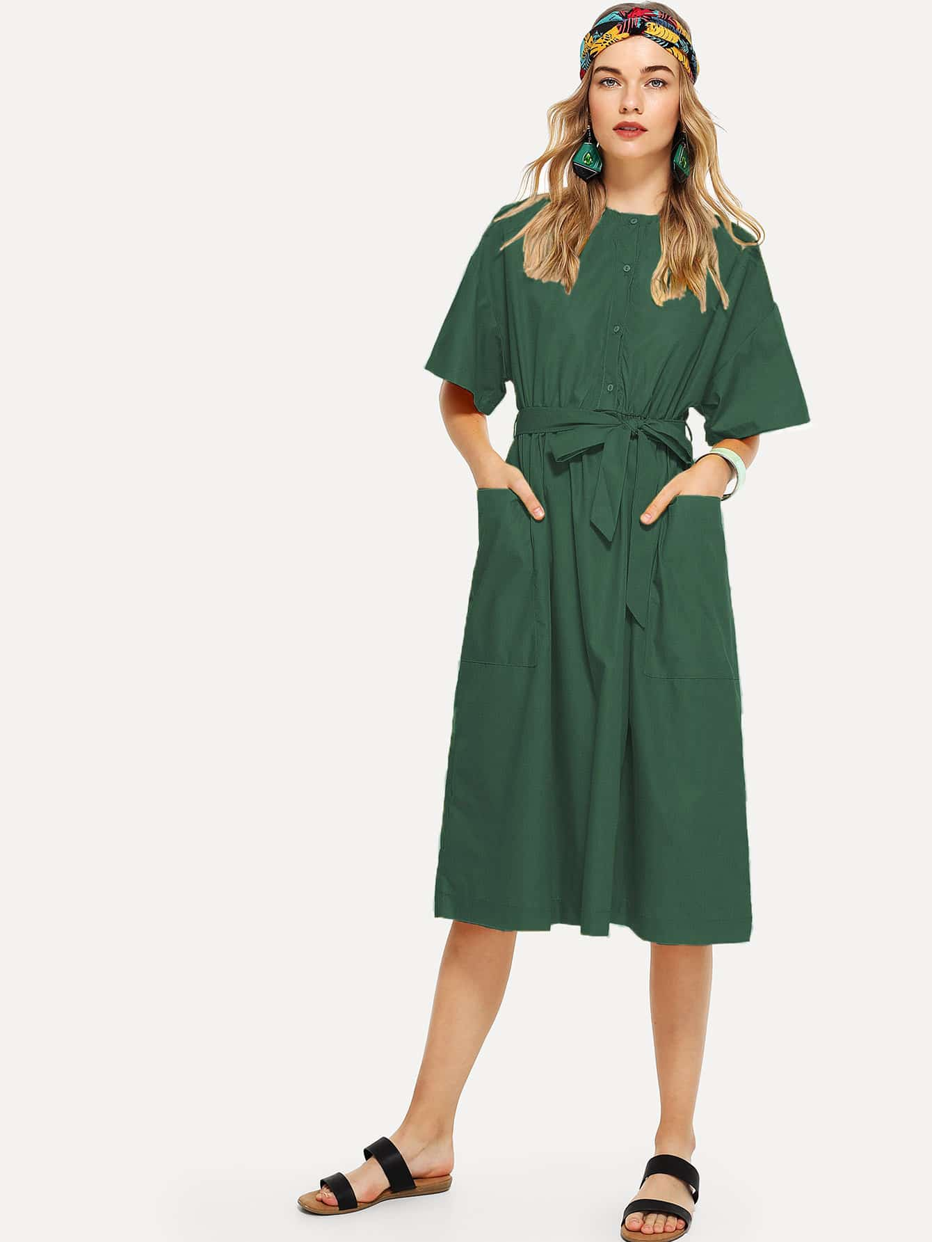 Купить Платье с поясом и с украшением карманов перед одежды, Teresa, SheIn