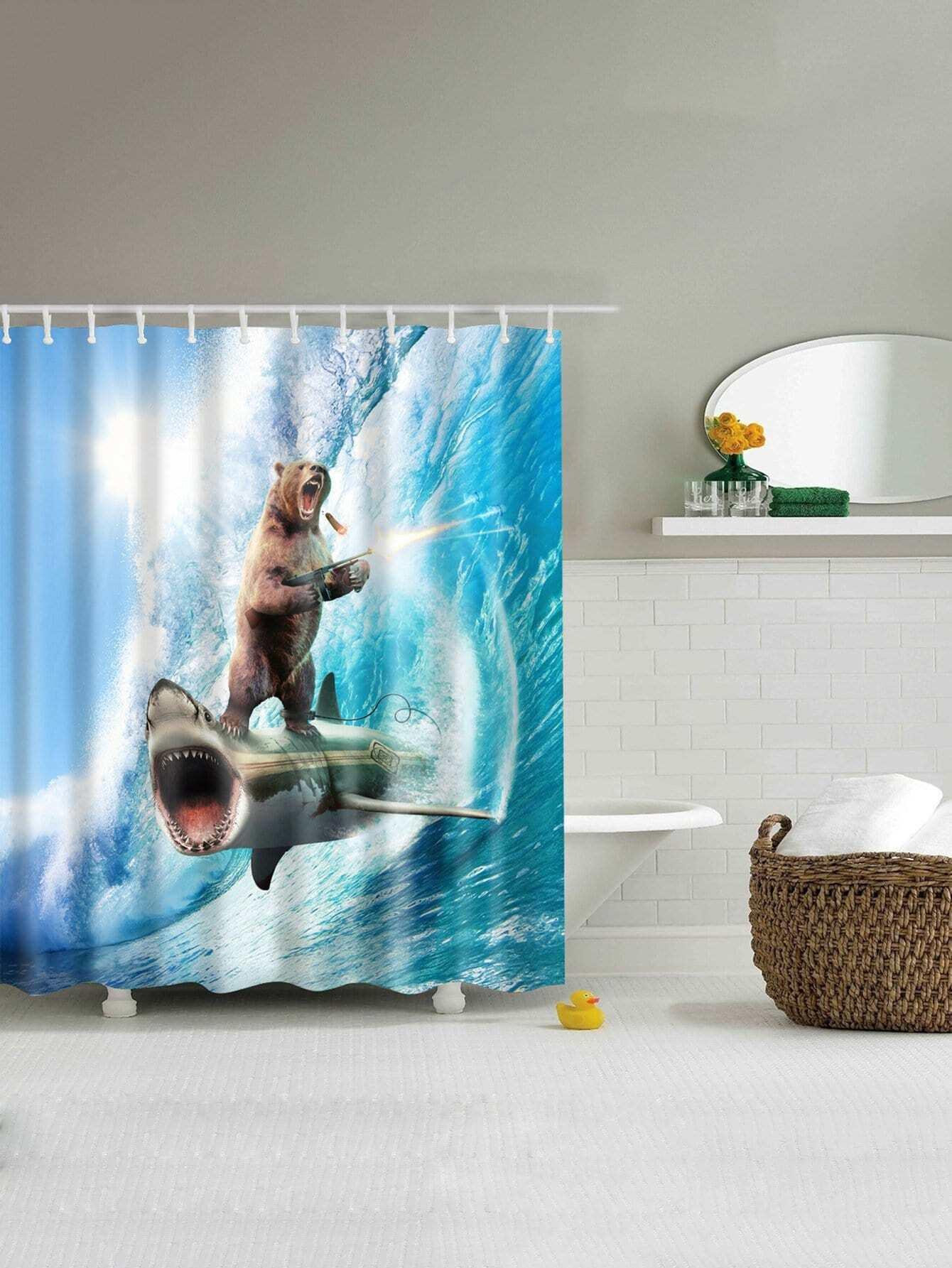 Купить Занавес для душа с рисунками акул и с крючком 12 шт., null, SheIn