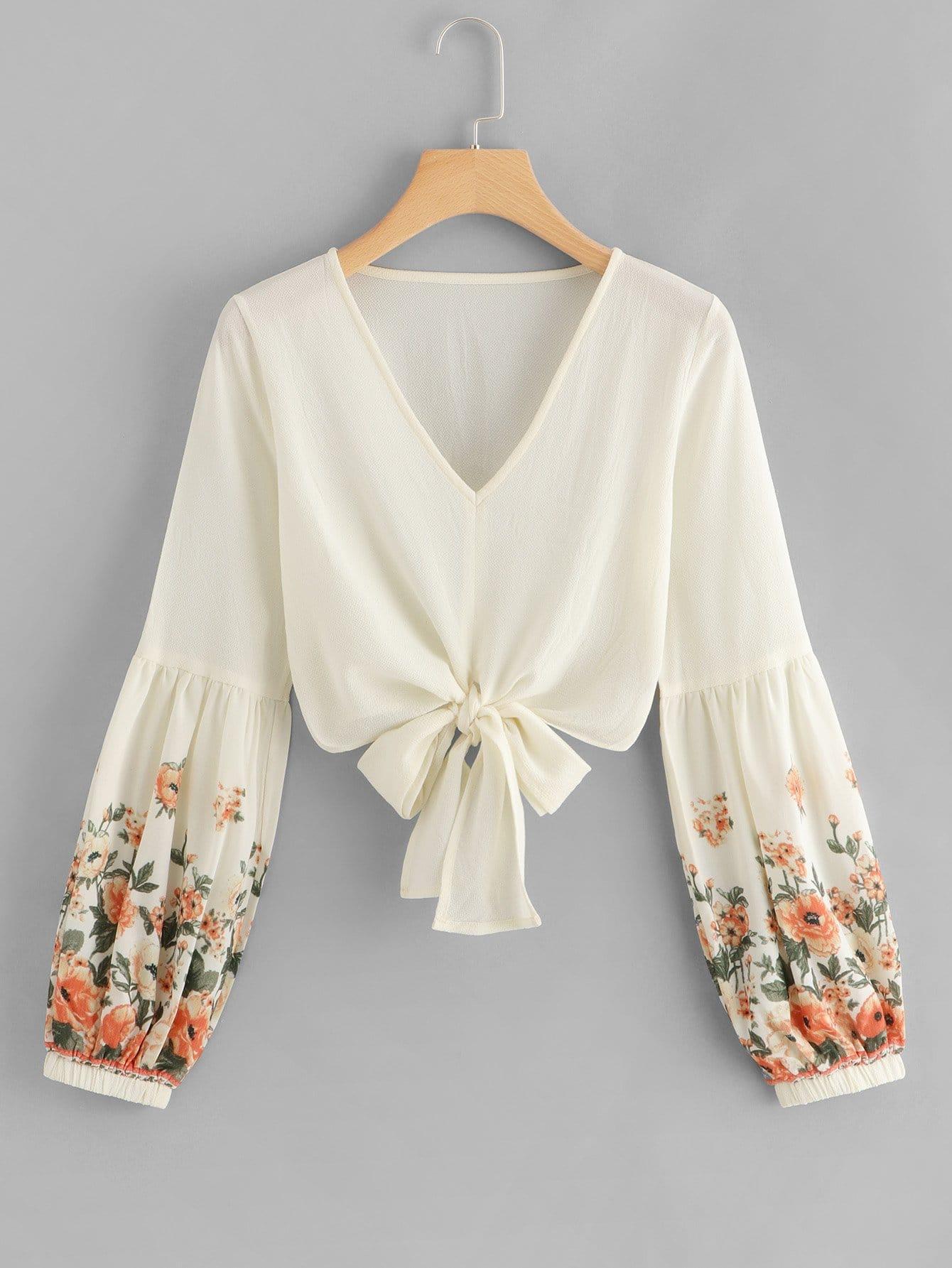 Купить Ситцевая блуза с бантом, null, SheIn