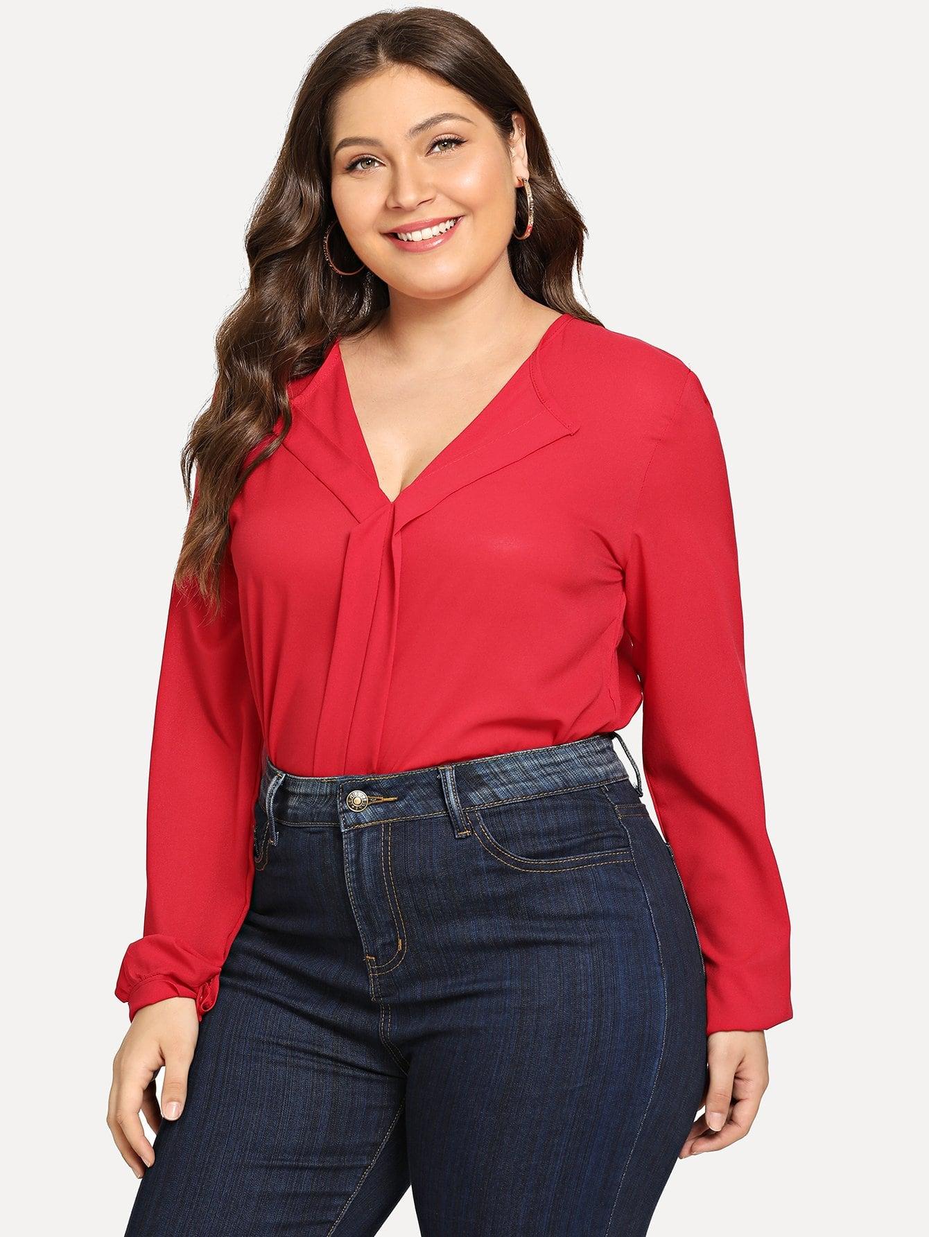 Купить Большая простая блуза V-образным вырезом, Carol, SheIn