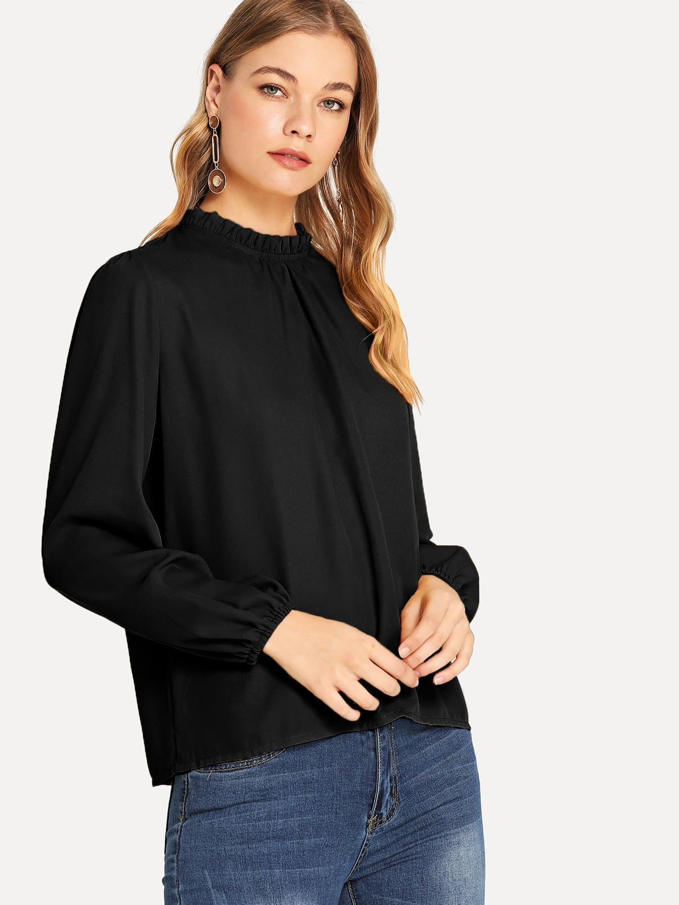 Frill Detail Solid Top